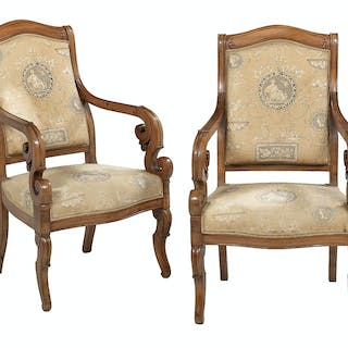 Pair of Restauration-Style Fruitwood Fauteuils