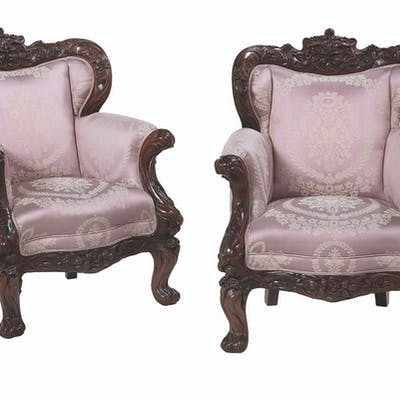 Large Pair of Carved Mahogany Armchairs in the Art Nouveau Taste