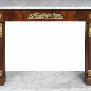 Empire-Style Mahogany and Marble-Top Fireplace Surround