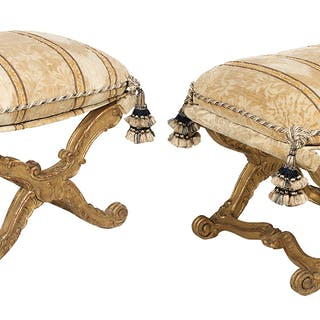 Pair of Italian Giltwood Stools in the Rococo Taste
