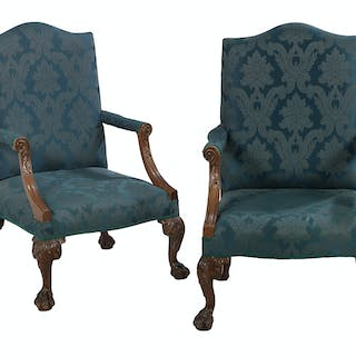 Pair of George III-Style Mahogany Gainsborough Chairs