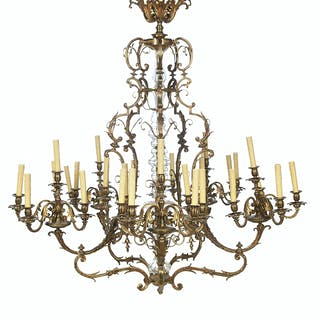 Monumental French Gilt-Bronze and Crystal Chandelier