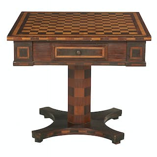 Unusual American Rosewood and Maple-Inlaid Game Table