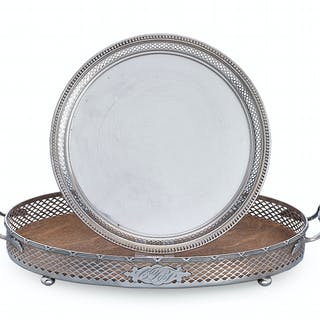Two American Sterling Silver Galleried Drinks Trays