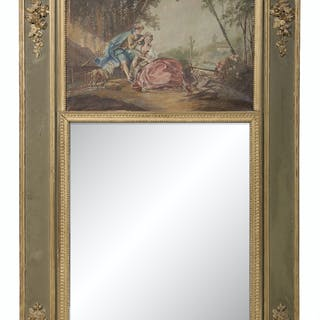 French Parcel-Gilt Trumeau Mirror