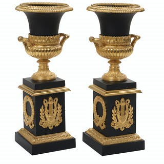Pair of Empire-Style Gilt- and Patinated Bronze Garniture Urns