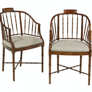 Pair of Maple Faux Bamboo Windsor Tub Chairs
