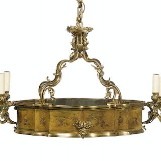 Unusual French Bronze, Tole and Glass Chandelier