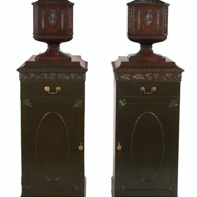 Pair of Colonial Revival Knife Boxes and Stands in the Adam Taste