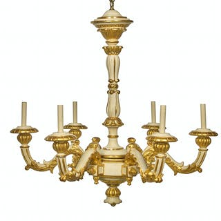 Louis XIV-Style Carved and Parcel-Gilt Wooden Chandelier