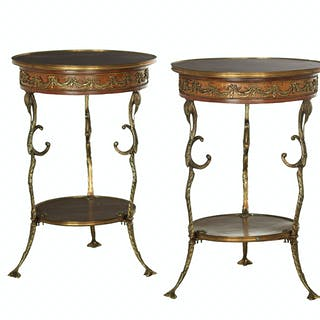 Pair of French Ormolu-Mounted Mahogany Side Tables