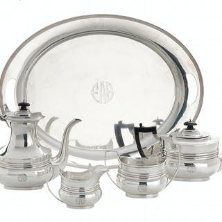 Edwardian Sterling Silver Tea and Coffee Set with Associated Tray