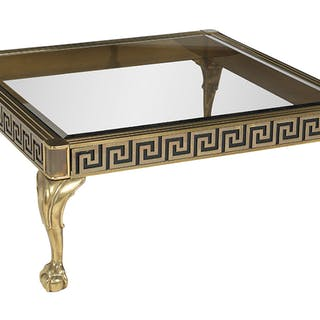 Neoclassical-Style Brass and Glass Cocktail Table