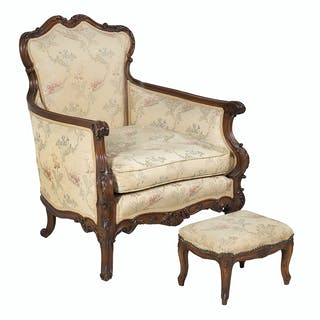 Louis XV-Style Beechwood Bergere and Stool
