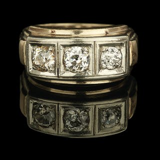 Gentleman's Three-Stone Diamond Ring