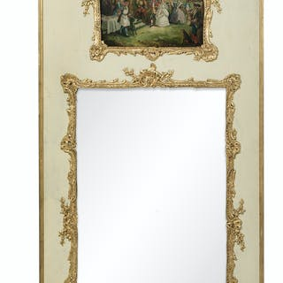 Painted and Giltwood Trumeau Mirror