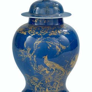 Chinese Powder Blue and Gilt Porcelain Covered Urn