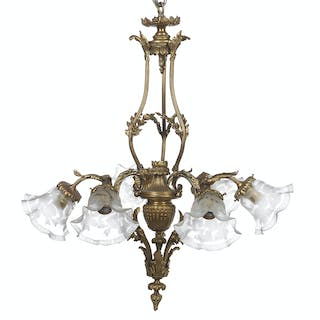 French Belle Epoque Bronze Chandelier