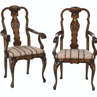 Pair of Marquetry-Inlaid Armchairs in the Dutch Style