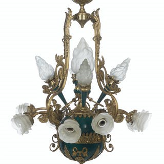 French Bronze and Green Enamel Chandelier