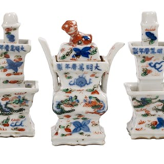 Chinese Miniature Five-Piece Wucai Porcelain Temple Garniture