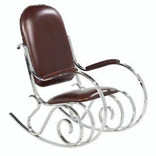 "Mid-Century Modern Chrome and Leather ""Thonet"" Rocking Chair"