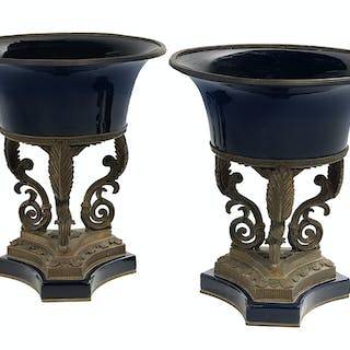 Pair of Porcelain and Gilt-Metal Centerpieces