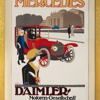 """Advertising Poster, """"Mercedes Daimler, Motoren Gesellschaft Stutt"""