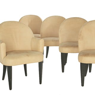 Suite of Six Leather-Upholstered Occasional Chairs