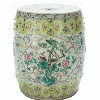 Chinese Export Famille Jaune Porcelain Garden Seat