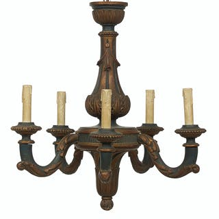French Carved and Parcel-Gilt Chandelier