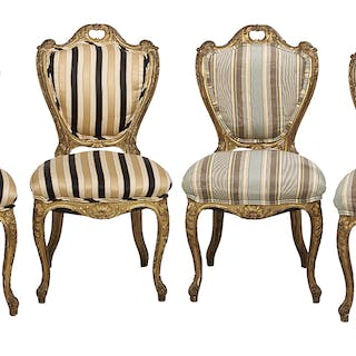 Suite of Four Louis XV-Style Giltwood Chairs