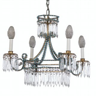 Diminutive French Gilt-Metal and Glass Chandelier