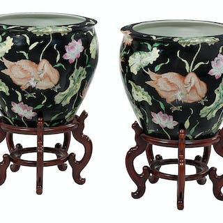 Pair of Chinese Famille Noir Porcelain Fishbowls with Hardwood Stands