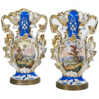 Pair of Rare Porcelain Fan Vases
