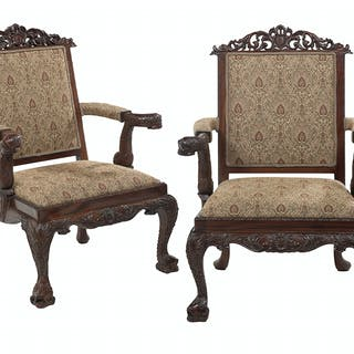 Pair of Mahogany Dolphin-Carved Armchairs