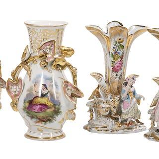Two Pairs of Franco-Bohemian Porcelain Mantel Vases