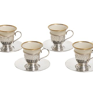 Eight-Piece Sterling Silver and Porcelain Demitasse Set