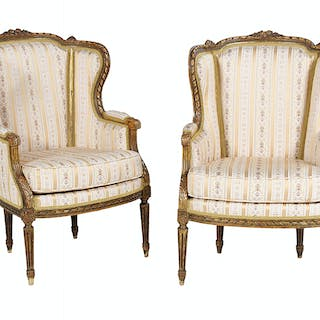 Pair of Louis XVI-Style Wing Chair Bergeres
