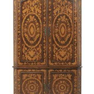 Dutch Marquetry-Inlaid Mahogany Corner Cupboard