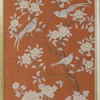 Dual Large Gracie, New York, Framed Chinoiserie Panels