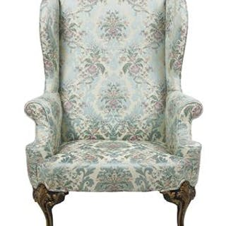 George II-Style Parcel-Gilt Mahogany Wing Chair