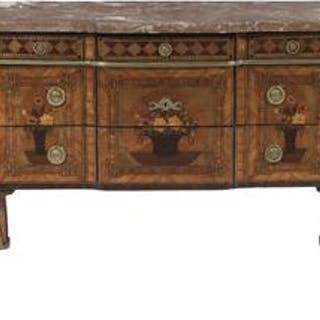 Louis XV/XVI Kingwood, Exotic Woods and Marble-Top Commode