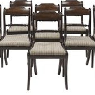 Fine Suite of Eight Regency Figured Mahogany and Brass-Strung Chairs