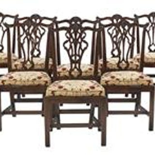 Suite of Ten George III-Style Mahogany Dining Chairs