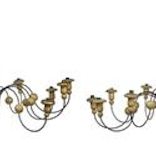 Pair of Provincial Parcel-Gilt Wood and Metal Chandeliers