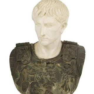 Italian Grand Tour Carved and Painted Marble Bust of the Augustus
