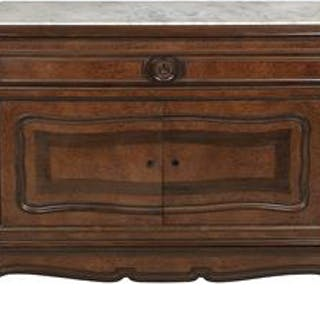 Louis-Philippe Rosewood, Burl Wood and Marble-Top Commode