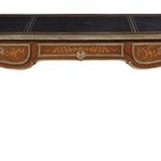 Louis XV-Style Inlaid Mahogany Bureau Plat