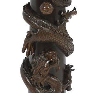Chinese Export-Style Carved Wood Pedestal